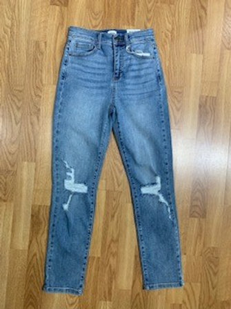 Light Wash Cropped Jeans With Knee Distressing