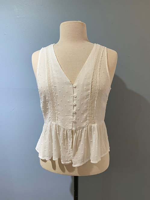 White Dotted Button Front Cami