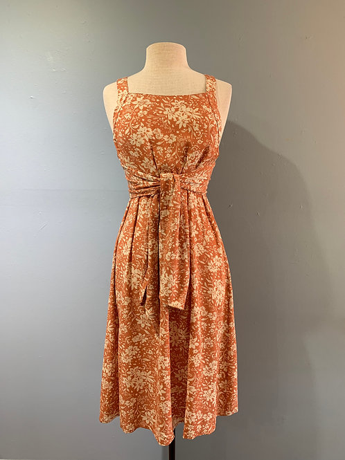 Peach Floral Midi Dress