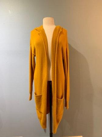 Mustard Long Open Cardigan