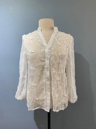 Floral Lace Button Down Blouse