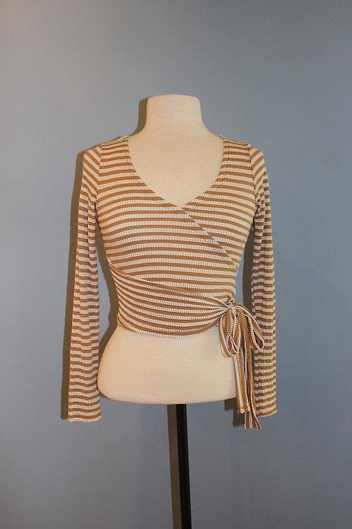 camel/cream striped wrap