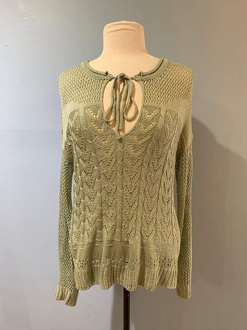 Sage Open Knit with Tie