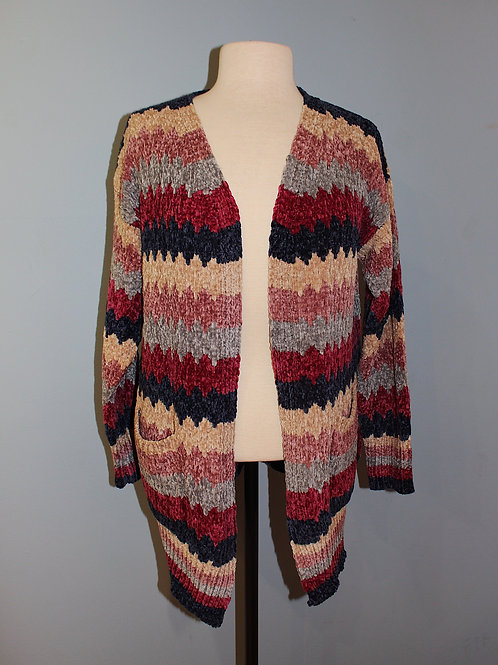 burgundy/navy striped cardi