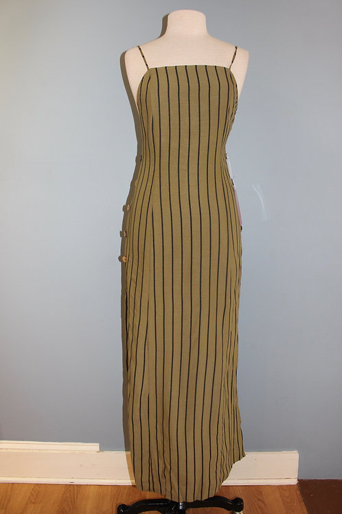 olive striped maxi dress