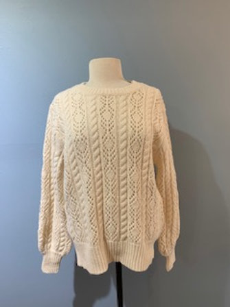 Ivory Crochet Balloon Sleeve Sweater