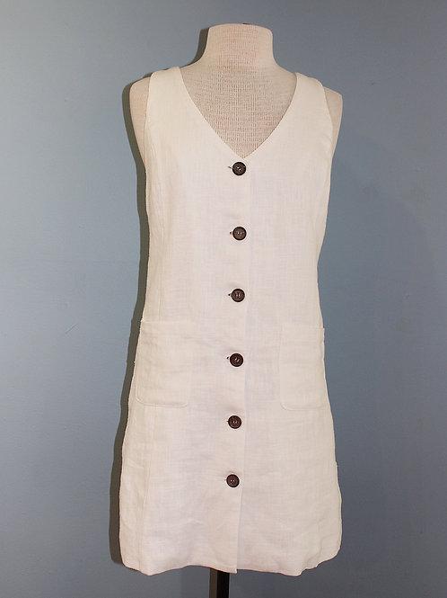 white linen dress w/ buttons
