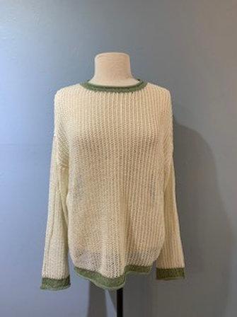 Cream & Sage Crewneck Sweater