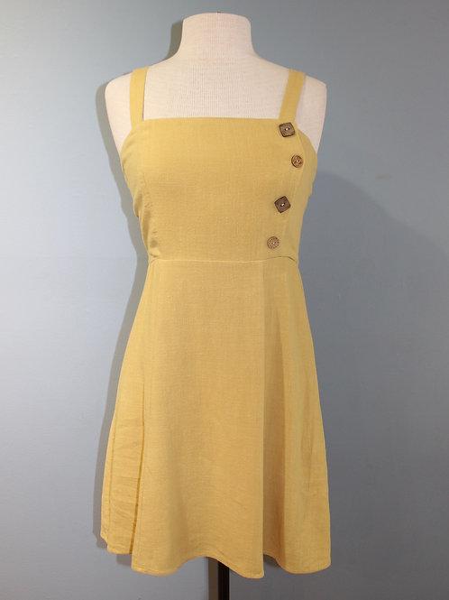 wide strap side button dress