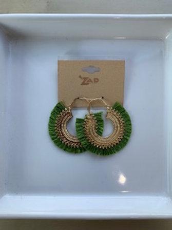 Green Fan Earrings
