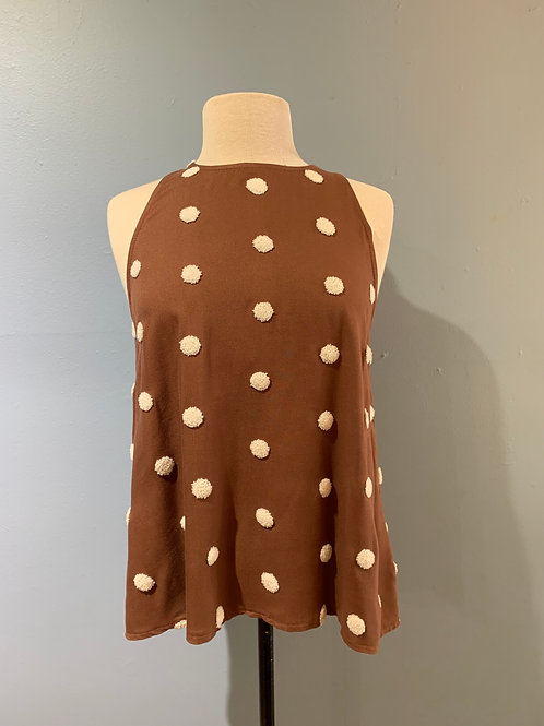 Brown with Cream Pompoms