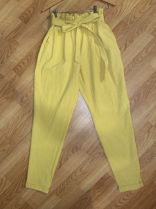 mustard linen tie waist