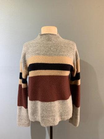 Grey & Burgundy Stripe Sweater