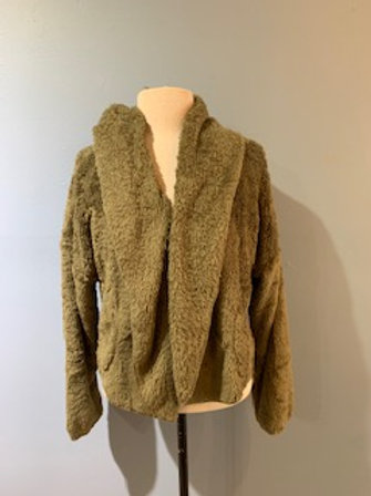 Olive Cropped Teddy Bear Jacket