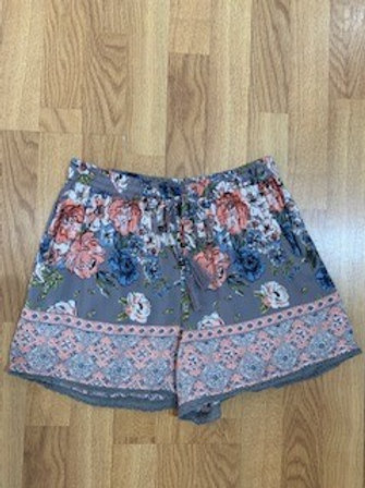 Floral And Print Shorts With Front Tie