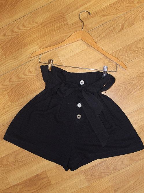 navy linen wide shorts