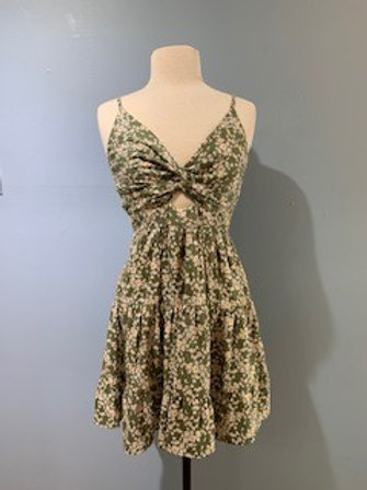 Olive And Cream Tiny Floral Sundress With Keyhole