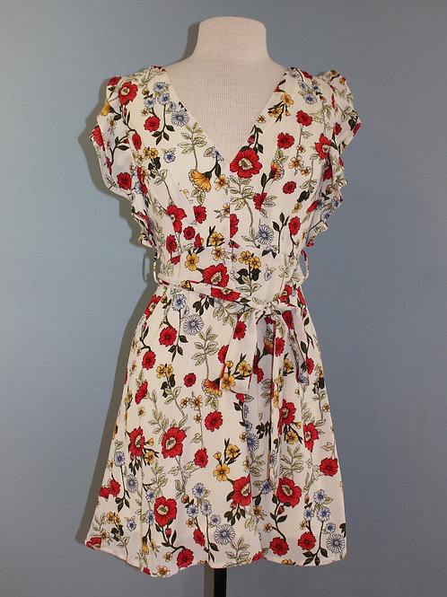 cream and red floral dress