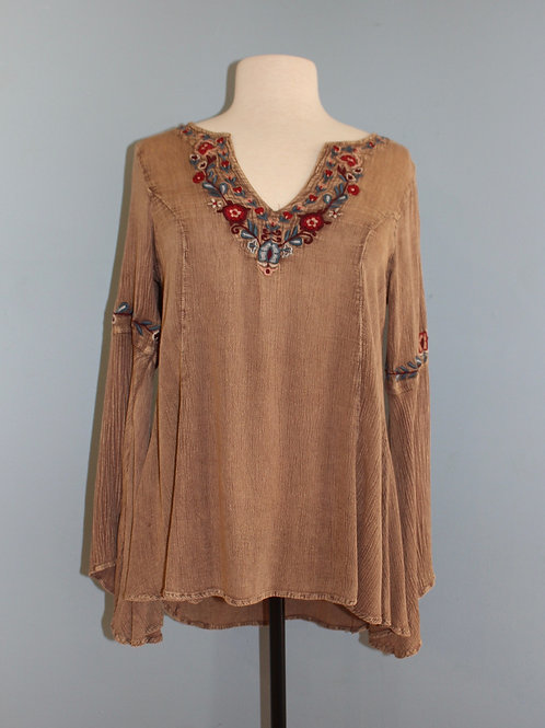 wine embroidered festival top