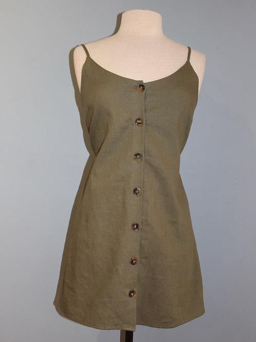 olive button front mini dress