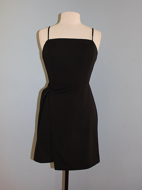 black knit wrap tank dress