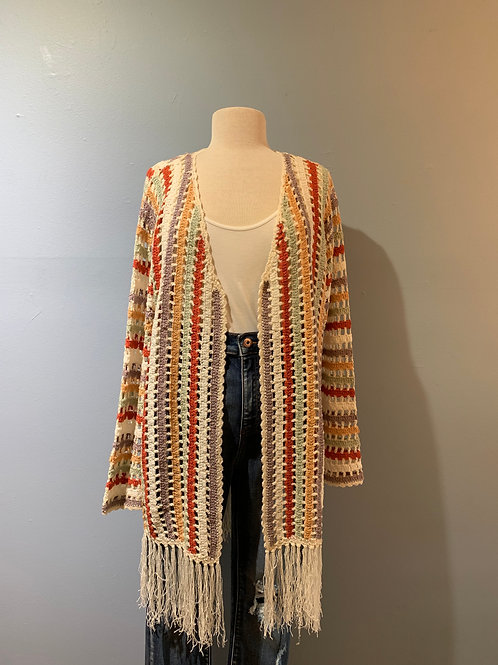 Multi Stripe Long Cardigan