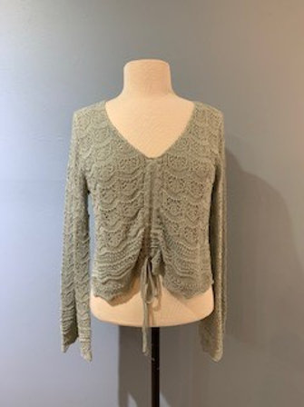 Sage Cinch Front Bell Sleeve Sweater