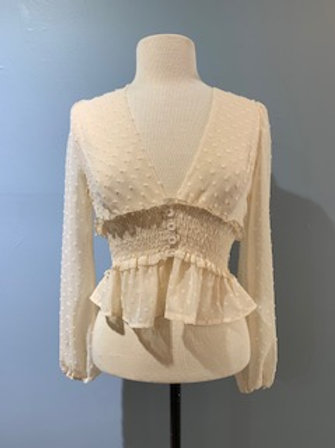 Ivory Dotted Sheer Blouse with Buttons