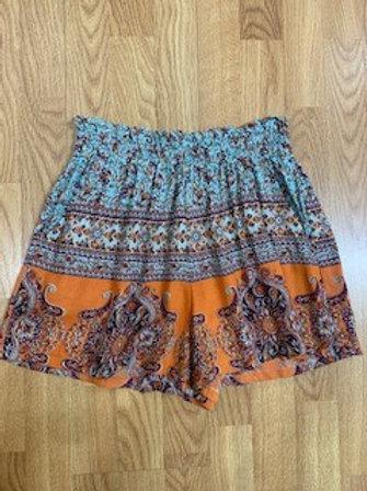 Blue And Orange Printed Shorts