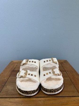Luka White Buckle Sandal