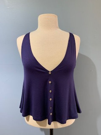 Navy Button Front Swing Tank