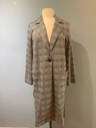 Plaid Knit Long Jacket