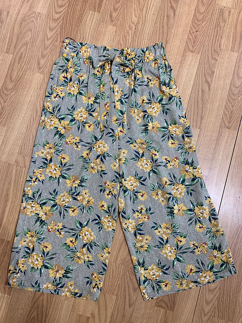 Mustard Floral Wide Leg Cropped Pant