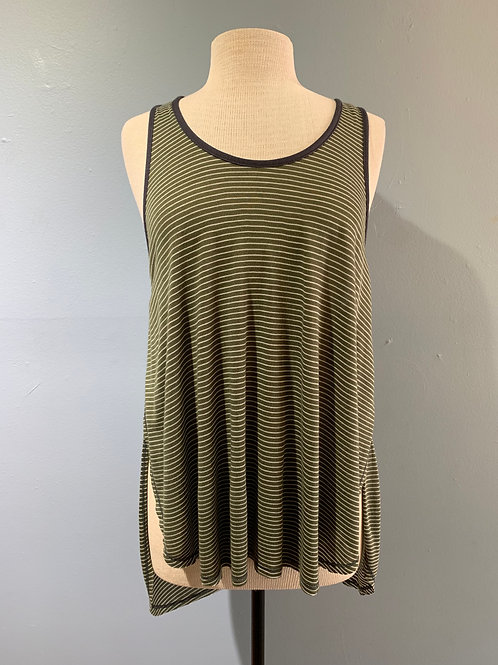 Olive Striped Overlap Tank