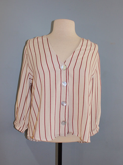 red/cream stripe button front blouse