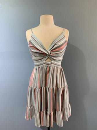 Blue and Pink Striped Dress with Front Detail