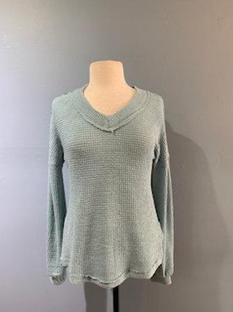 Mint V-Neck Waffle Knit Sweater
