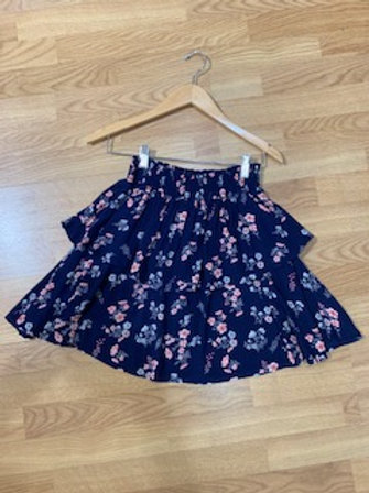 Navy Floral Tiered Skirt
