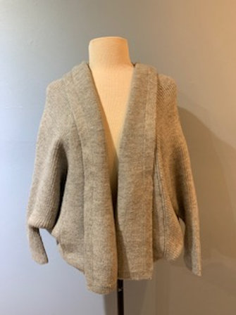 Heather Grey Hooded Look By M Cardigan