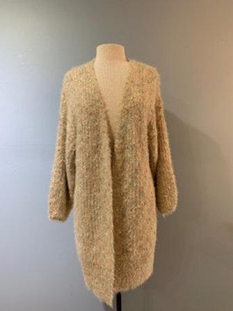 Mixed Yarn Sparkly Long Cardigan