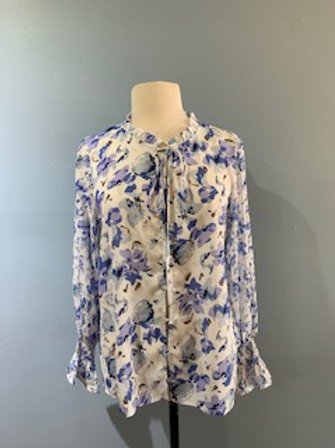 Blue And Lilac Floral Blouse