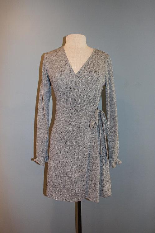 heather grey knit wrap dress