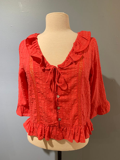 Coral Dotted Blouse with Ruffle