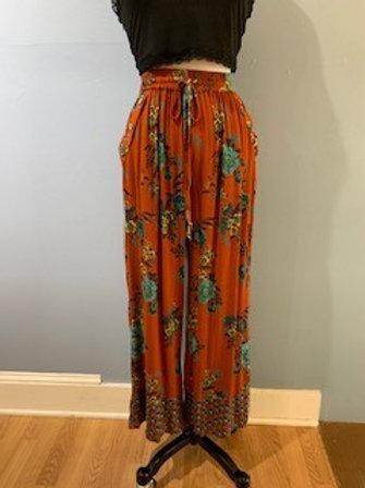 Rust Floral Print Wide Leg Pants