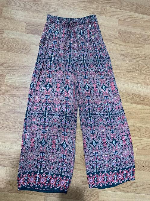 Pink & Green Paisley Wide Leg Pants