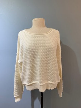 Cream Raw Edge Dotted Sweater
