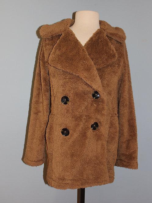 tan fuzzy pea coat