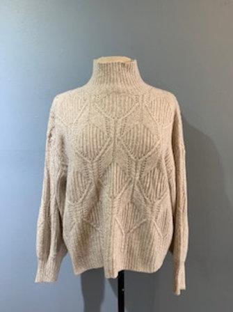 Cream Textured Turtleneck Sweater