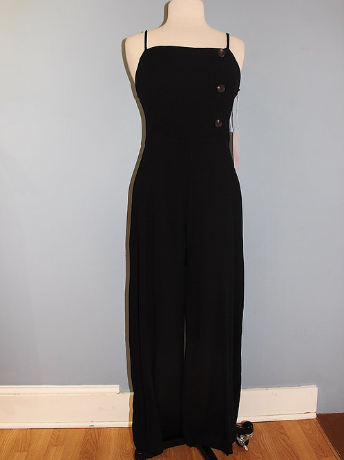 black jumpsuit with side buttons