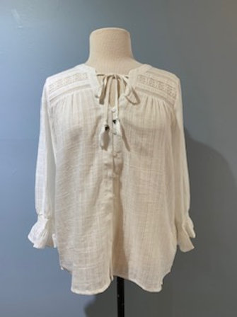 White Lace Trim Blouse with Tie